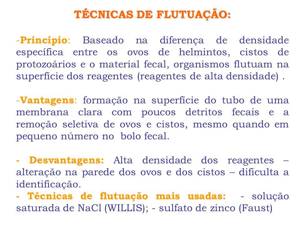 TÉCNICAS DE FLUTUAÇÃO: - Princípio : Baseado na diferença de densidade específica entre os ovos de helmintos, cistos de protozoários e o material feca