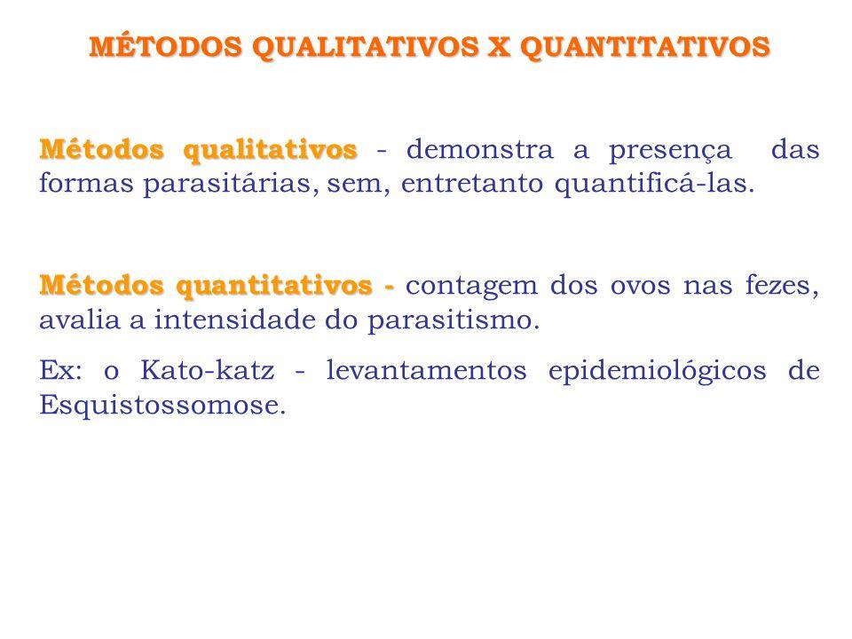 MÉTODOS QUALITATIVOS X QUANTITATIVOS Métodos qualitativos Métodos qualitativos - demonstra a presença das formas parasitárias, sem, entretanto quantif
