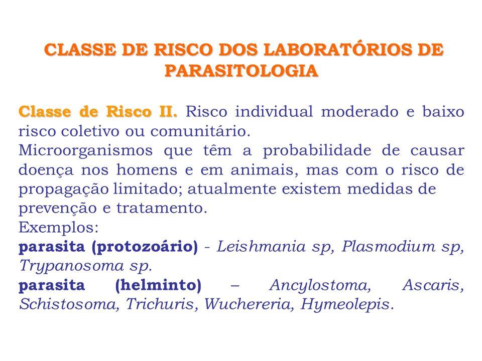 CLASSE DE RISCO DOS LABORATÓRIOS DE PARASITOLOGIA Classe de Risco II. Classe de Risco II. Risco individual moderado e baixo risco coletivo ou comunitá
