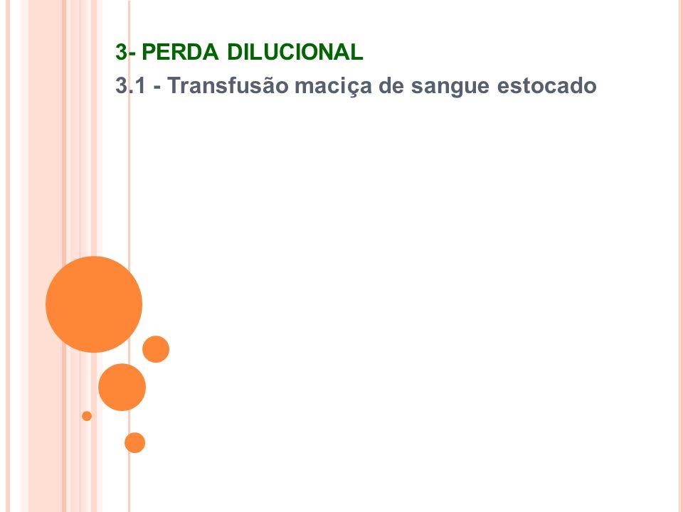 3- PERDA DILUCIONAL 3.1 - Transfusão maciça de sangue estocado