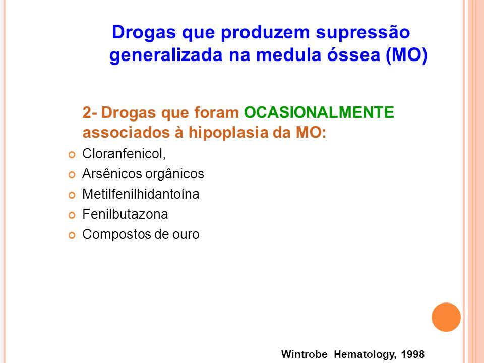 Drogas que produzem supressão generalizada na medula óssea (MO) 2- Drogas que foram OCASIONALMENTE associados à hipoplasia da MO: Cloranfenicol, Arsên