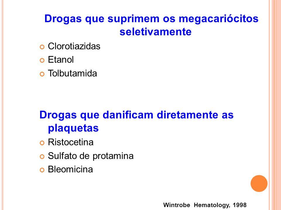 Drogas que suprimem os megacariócitos seletivamente Clorotiazidas Etanol Tolbutamida Drogas que danificam diretamente as plaquetas Ristocetina Sulfato