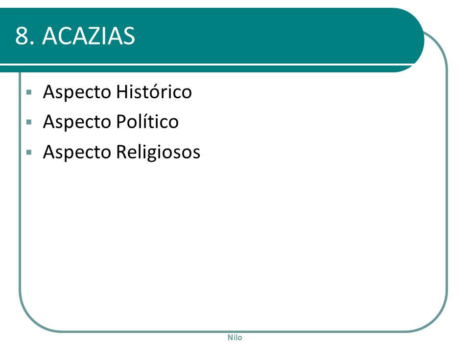 Nilo 8. ACAZIAS Aspecto Histórico Aspecto Político Aspecto Religiosos