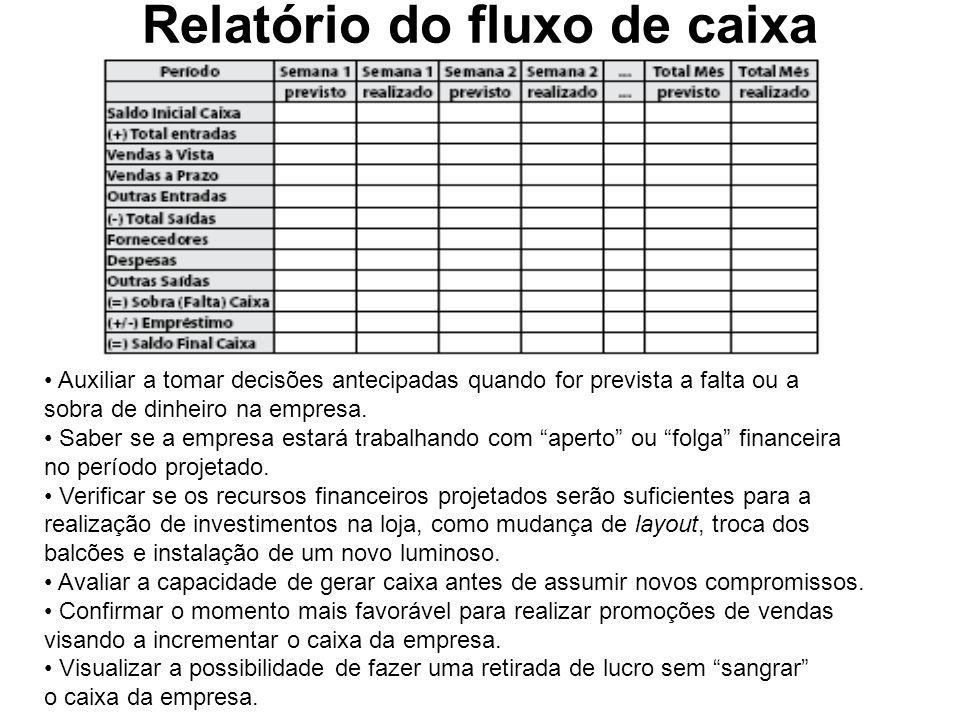 Relatório do fluxo de caixa Auxiliar a tomar decisões antecipadas quando for prevista a falta ou a sobra de dinheiro na empresa. Saber se a empresa es