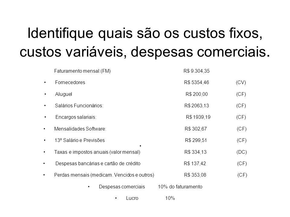 Identifique quais são os custos fixos, custos variáveis, despesas comerciais. Faturamento mensal:(FM) R$ 9.304,35 Fornecedores R$ 5354,46 (CV) Aluguel