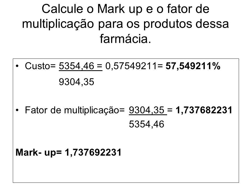 Calcule o Mark up e o fator de multiplicação para os produtos dessa farmácia. Custo= 5354,46 = 0,57549211= 57,549211% 9304,35 Fator de multiplicação=