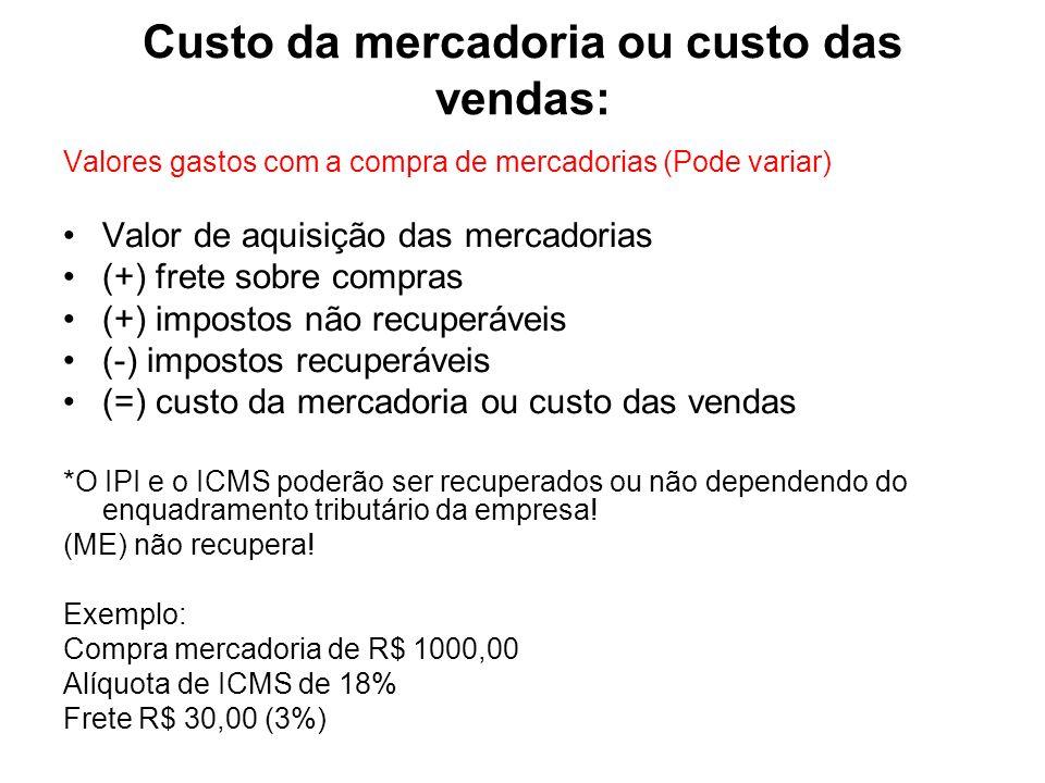 Custo da mercadoria ou custo das vendas: Valores gastos com a compra de mercadorias (Pode variar) Valor de aquisição das mercadorias (+) frete sobre c