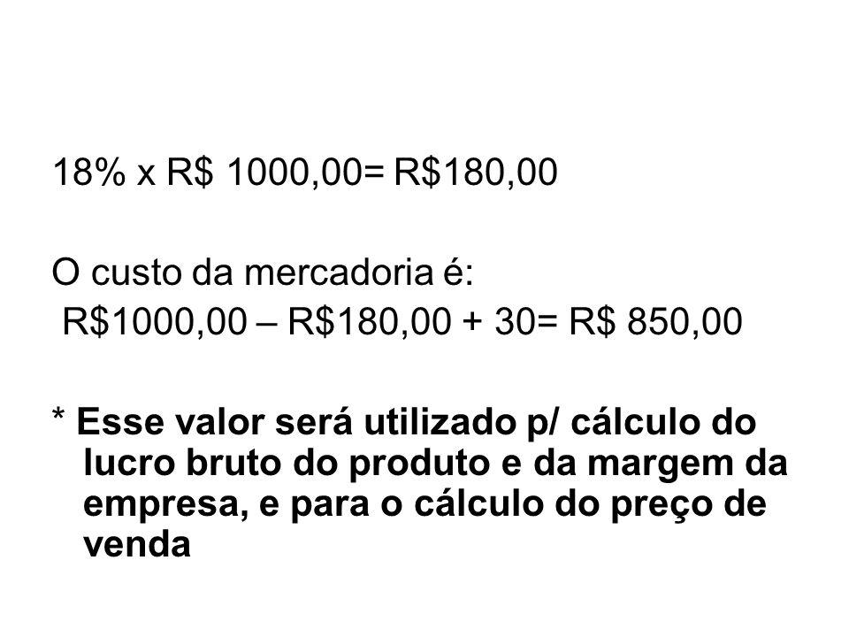 18% x R$ 1000,00= R$180,00 O custo da mercadoria é: R$1000,00 – R$180,00 + 30= R$ 850,00 * Esse valor será utilizado p/ cálculo do lucro bruto do prod