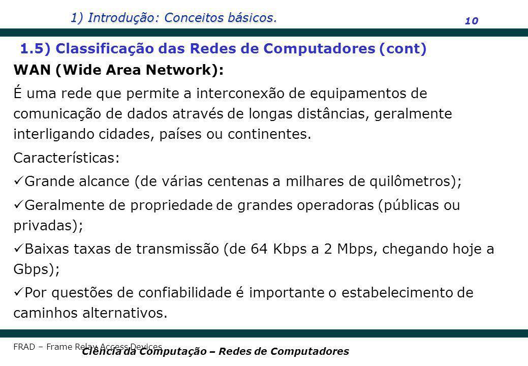 1) Introdução: Conceitos básicos. 10 Ciência da Computação – Redes de Computadores WAN (Wide Area Network): É uma rede que permite a interconexão de e