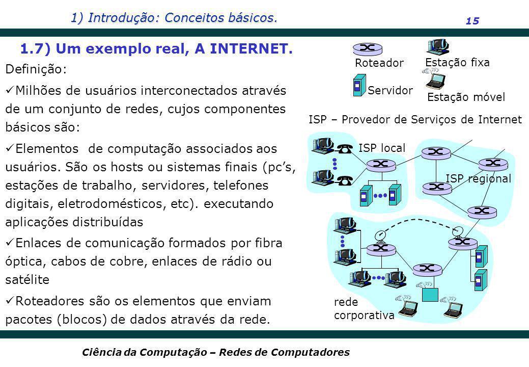 1) Introdução: Conceitos básicos. 15 Ciência da Computação – Redes de Computadores Definição: Milhões de usuários interconectados através de um conjun