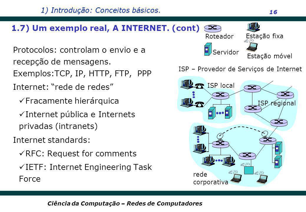 1) Introdução: Conceitos básicos. 16 Ciência da Computação – Redes de Computadores Protocolos: controlam o envio e a recepção de mensagens. Exemplos:T