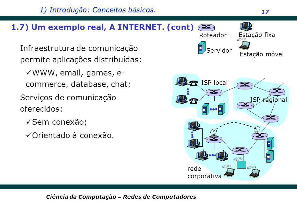 1) Introdução: Conceitos básicos. 17 Ciência da Computação – Redes de Computadores Infraestrutura de comunicação permite aplicações distribuídas: WWW,