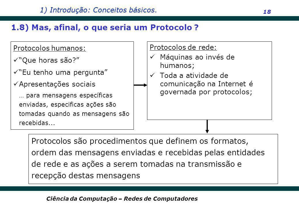 1) Introdução: Conceitos básicos. 18 Ciência da Computação – Redes de Computadores Protocolos humanos: Que horas são? Eu tenho uma pergunta Apresentaç