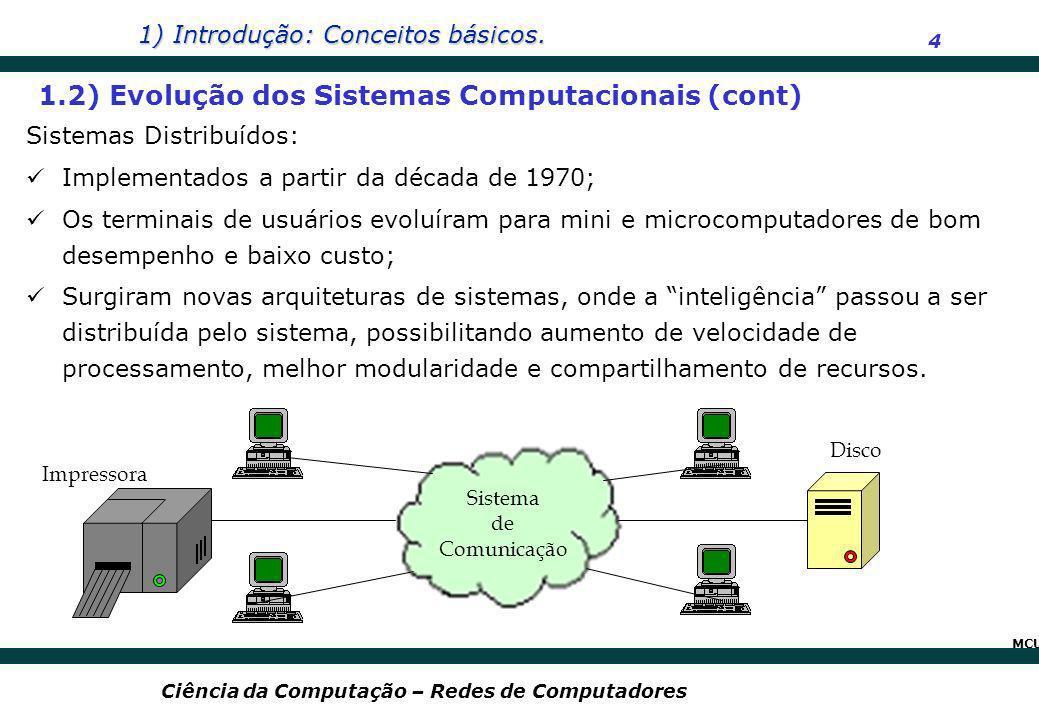 1) Introdução: Conceitos básicos. 4 Ciência da Computação – Redes de Computadores Sistemas Distribuídos: Implementados a partir da década de 1970; Os