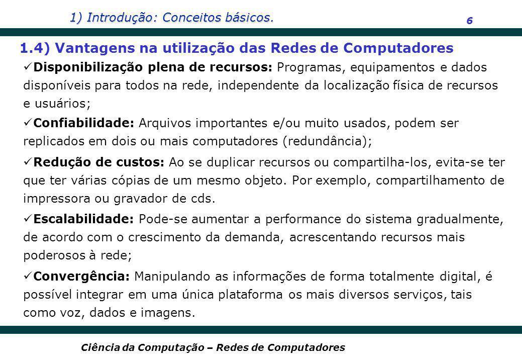 1) Introdução: Conceitos básicos. 6 Ciência da Computação – Redes de Computadores Disponibilização plena de recursos: Programas, equipamentos e dados