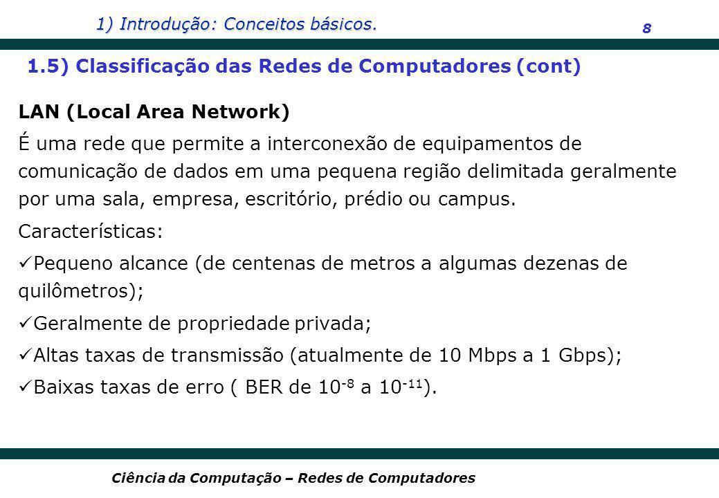 1) Introdução: Conceitos básicos. 8 Ciência da Computação – Redes de Computadores LAN (Local Area Network) É uma rede que permite a interconexão de eq