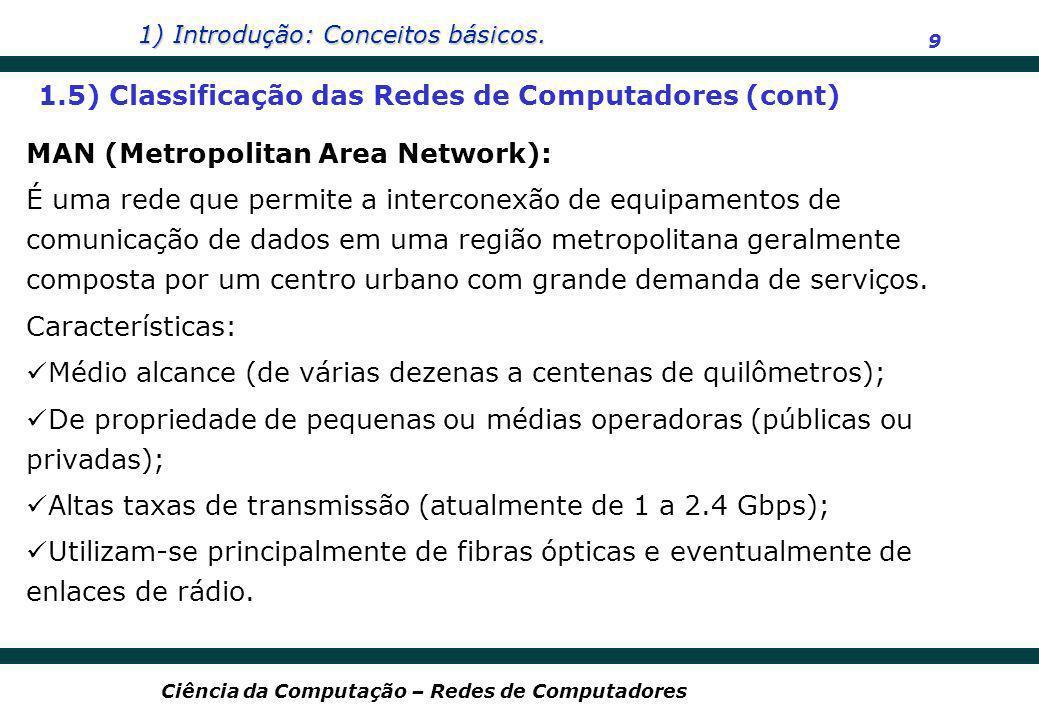 1) Introdução: Conceitos básicos. 9 Ciência da Computação – Redes de Computadores MAN (Metropolitan Area Network): É uma rede que permite a interconex