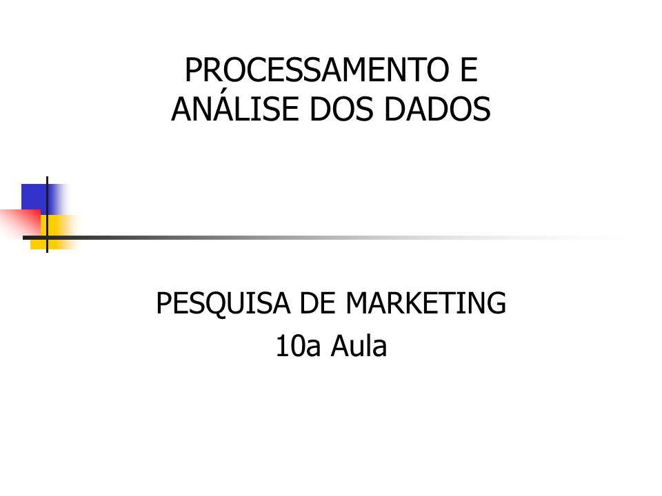 PESQUISA DE MARKETING 10a Aula PROCESSAMENTO E ANÁLISE DOS DADOS