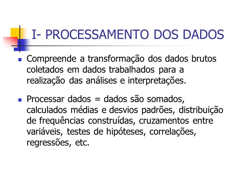 I- PROCESSAMENTO DOS DADOS Compreende a transformação dos dados brutos coletados em dados trabalhados para a realização das análises e interpretações.