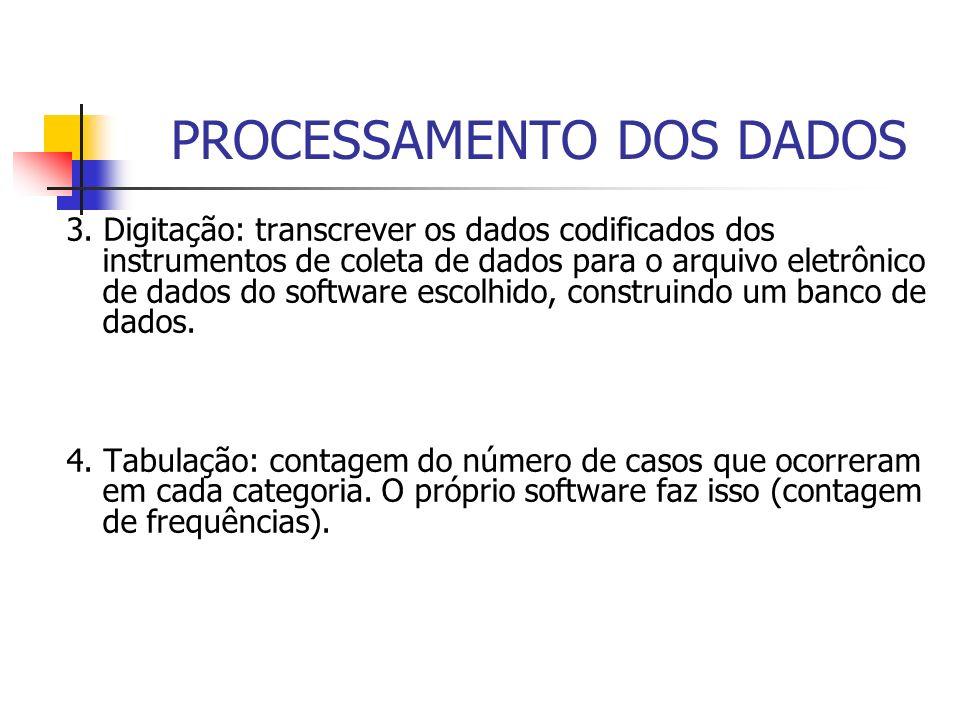 PROCESSAMENTO DOS DADOS 3. Digitação: transcrever os dados codificados dos instrumentos de coleta de dados para o arquivo eletrônico de dados do softw