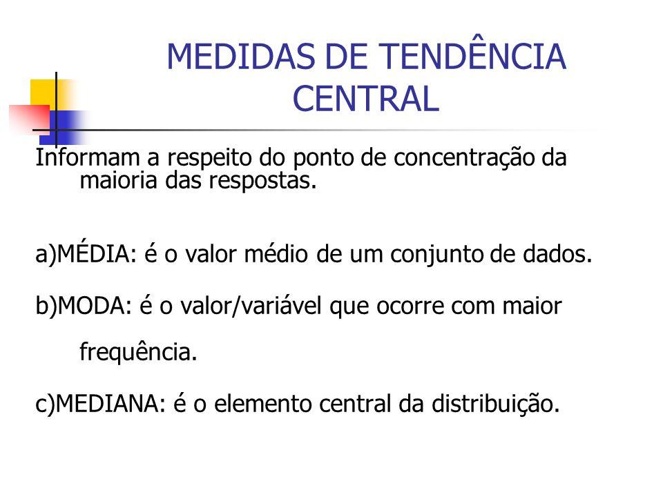 MEDIDAS DE TENDÊNCIA CENTRAL Informam a respeito do ponto de concentração da maioria das respostas. a)MÉDIA: é o valor médio de um conjunto de dados.