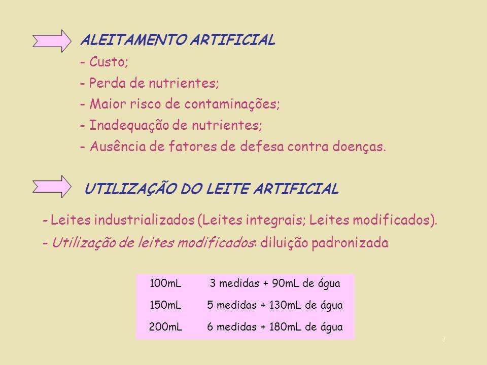 7 ALEITAMENTO ARTIFICIAL - Custo; - Perda de nutrientes; - Maior risco de contaminações; - Inadequação de nutrientes; - Ausência de fatores de defesa