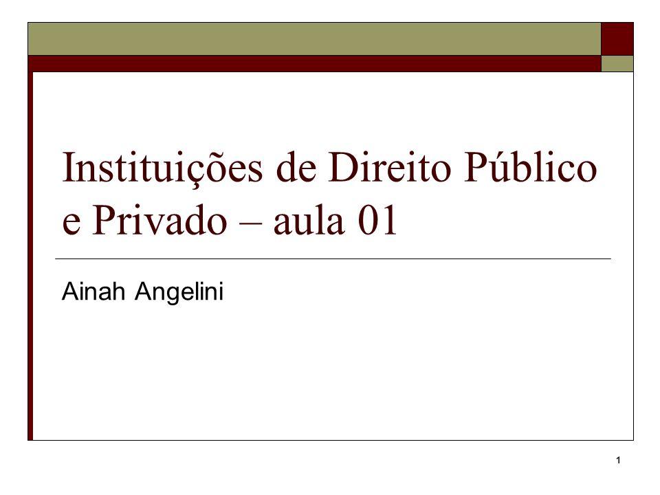 1 Instituições de Direito Público e Privado – aula 01 Ainah Angelini