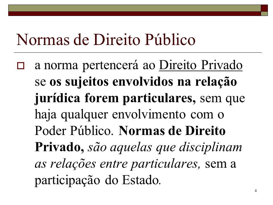 4 a norma pertencerá ao Direito Privado se os sujeitos envolvidos na relação jurídica forem particulares, sem que haja qualquer envolvimento com o Pod