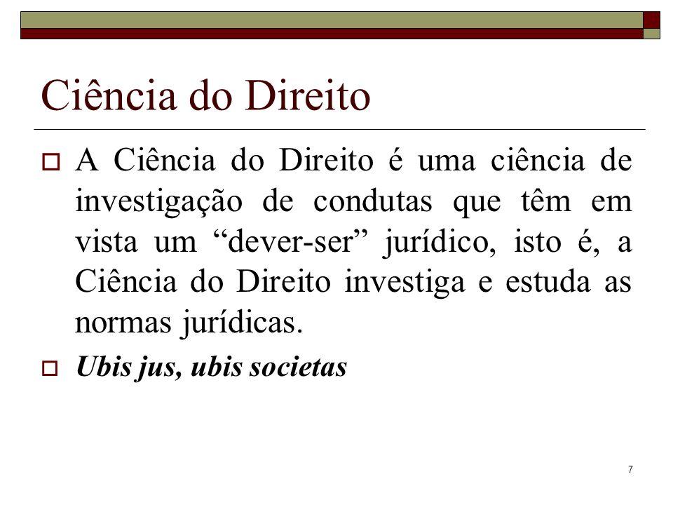 7 A Ciência do Direito é uma ciência de investigação de condutas que têm em vista um dever-ser jurídico, isto é, a Ciência do Direito investiga e estu