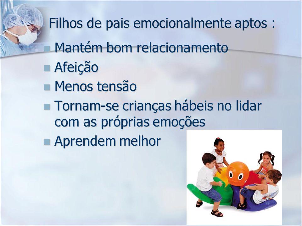 Filhos de pais emocionalmente aptos : Mantém bom relacionamento Mantém bom relacionamento Afeição Afeição Menos tensão Menos tensão Tornam-se crianças