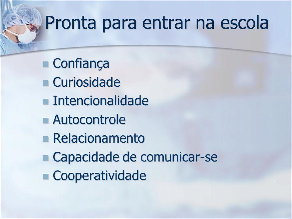 Pronta para entrar na escola Confiança Confiança Curiosidade Curiosidade Intencionalidade Intencionalidade Autocontrole Autocontrole Relacionamento Re
