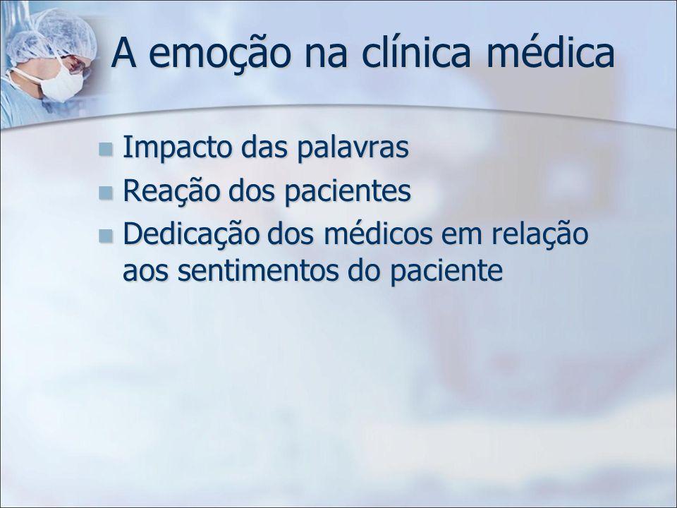 A emoção na clínica médica Impacto das palavras Impacto das palavras Reação dos pacientes Reação dos pacientes Dedicação dos médicos em relação aos se