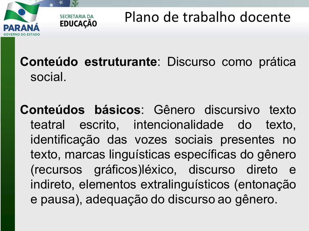 Características do texto teatral escrito: Promover o diálogo e montar um quadro com as características identificadas pelos alunos.