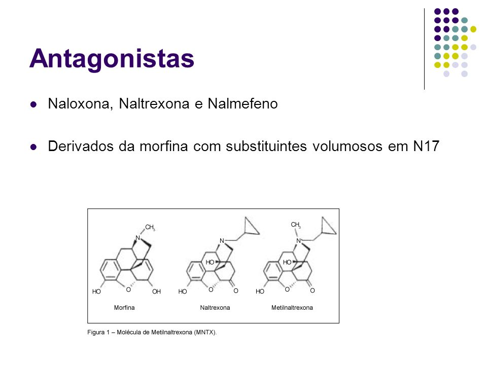 Antagonistas Naloxona, Naltrexona e Nalmefeno Derivados da morfina com substituintes volumosos em N17