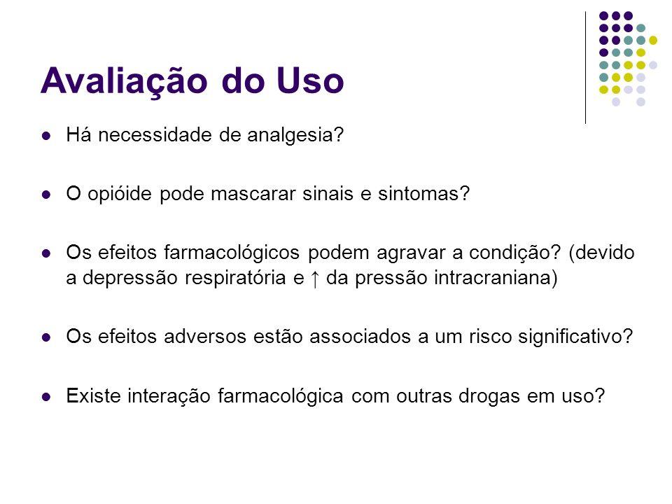 Avaliação do Uso Há necessidade de analgesia? O opióide pode mascarar sinais e sintomas? Os efeitos farmacológicos podem agravar a condição? (devido a
