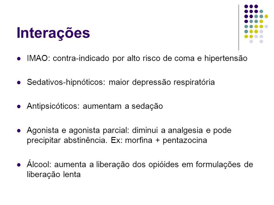 Interações IMAO: contra-indicado por alto risco de coma e hipertensão Sedativos-hipnóticos: maior depressão respiratória Antipsicóticos: aumentam a se