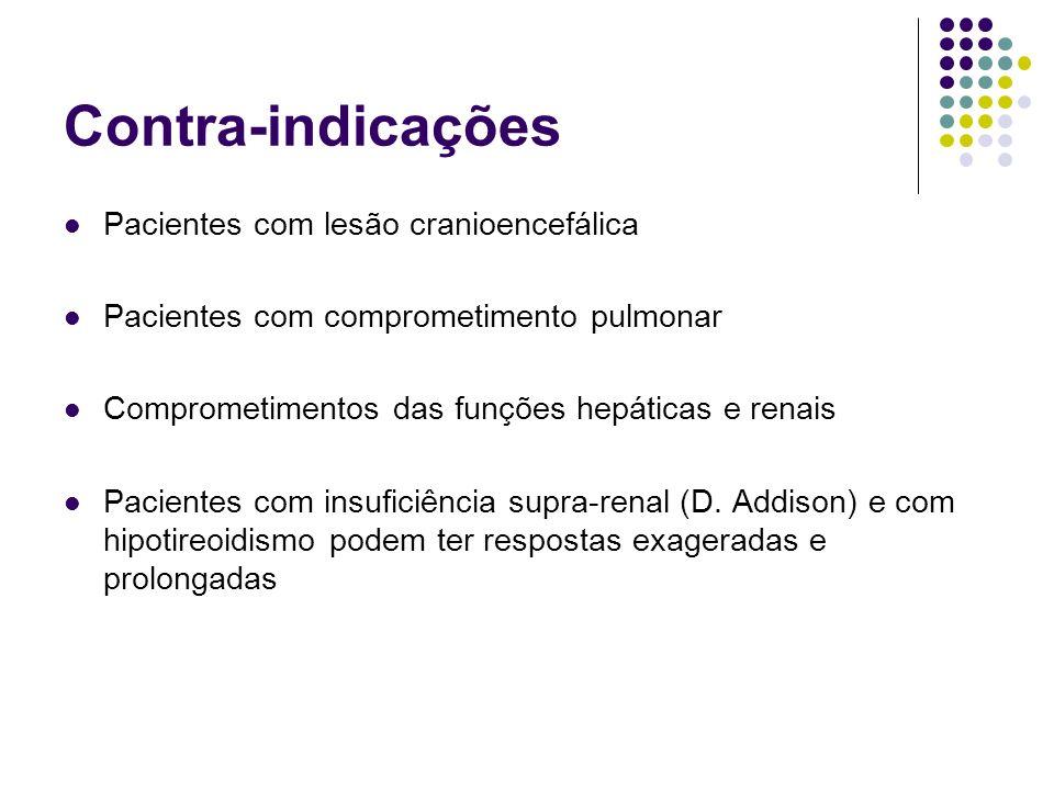 Contra-indicações Pacientes com lesão cranioencefálica Pacientes com comprometimento pulmonar Comprometimentos das funções hepáticas e renais Paciente