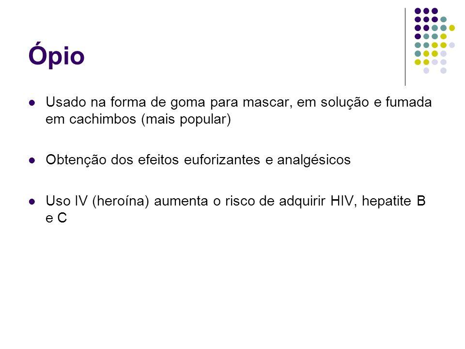 Ópio Usado na forma de goma para mascar, em solução e fumada em cachimbos (mais popular) Obtenção dos efeitos euforizantes e analgésicos Uso IV (heroí