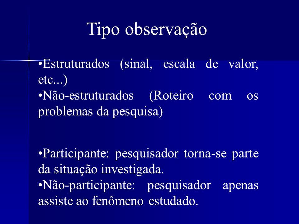 Tipo observação Estruturados (sinal, escala de valor, etc...) Não-estruturados (Roteiro com os problemas da pesquisa) Participante: pesquisador torna-
