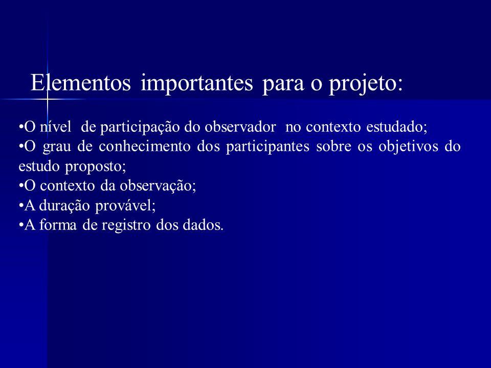 Elementos importantes para o projeto: O nível de participação do observador no contexto estudado; O grau de conhecimento dos participantes sobre os ob