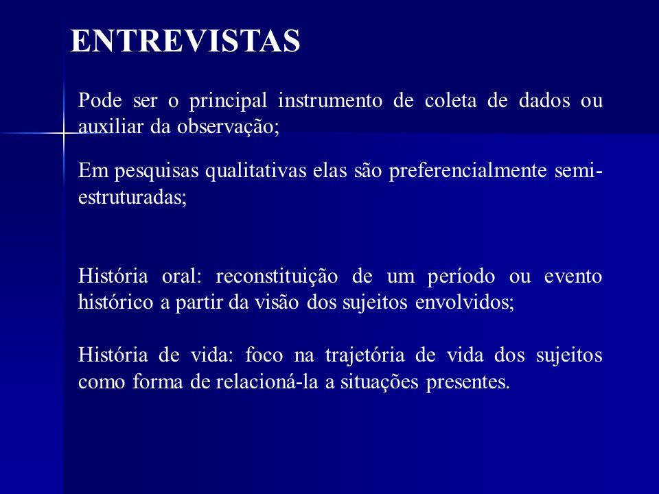 ENTREVISTAS Pode ser o principal instrumento de coleta de dados ou auxiliar da observação; Em pesquisas qualitativas elas são preferencialmente semi-