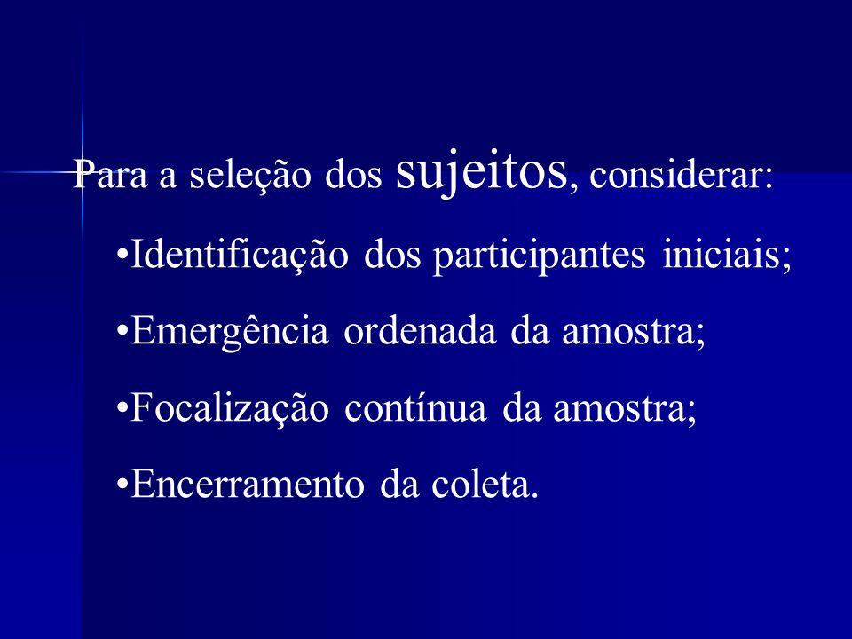 Para a seleção dos sujeitos, considerar: Identificação dos participantes iniciais; Emergência ordenada da amostra; Focalização contínua da amostra; En