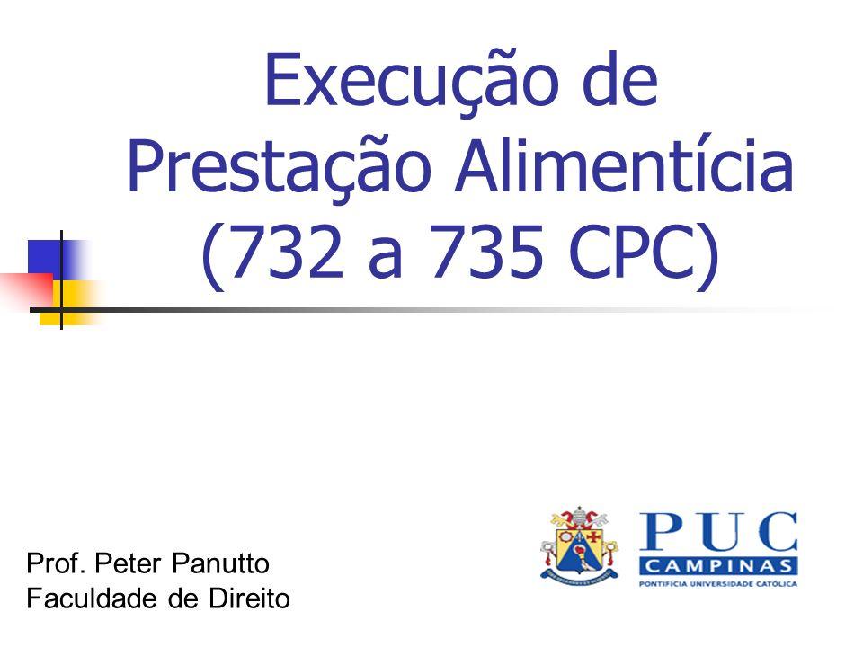 Execução de Prestação Alimentícia (732 a 735 CPC) Prof. Peter Panutto Faculdade de Direito