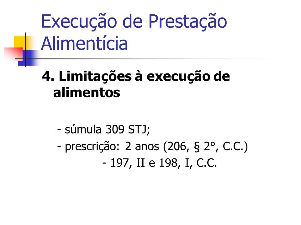 Execução de Prestação Alimentícia 4. Limitações à execução de alimentos - súmula 309 STJ; - prescrição: 2 anos (206, § 2°, C.C.) - 197, II e 198, I, C