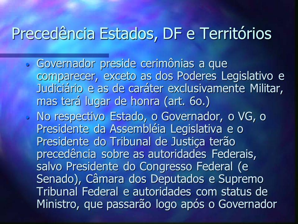 Precedência Estados, DF e Territórios Governador preside cerimônias a que comparecer, exceto as dos Poderes Legislativo e Judiciário e as de caráter e