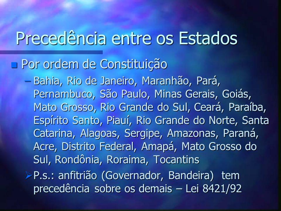 Precedência entre os Estados n Por ordem de Constituição –Bahia, Rio de Janeiro, Maranhão, Pará, Pernambuco, São Paulo, Minas Gerais, Goiás, Mato Gros