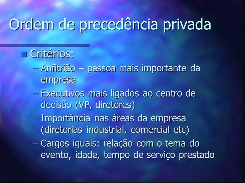Ordem de precedência privada n Critérios: –Anfitrião – pessoa mais importante da empresa –Executivos mais ligados ao centro de decisão (VP, diretores)