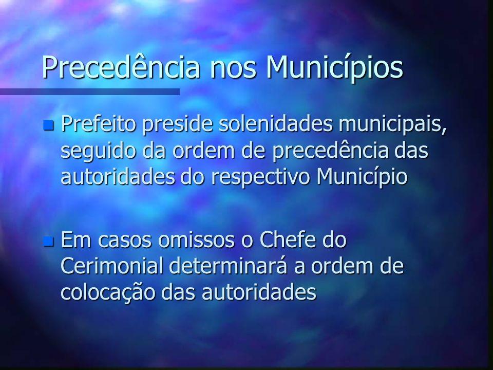 Precedência nos Municípios n Prefeito preside solenidades municipais, seguido da ordem de precedência das autoridades do respectivo Município n Em cas