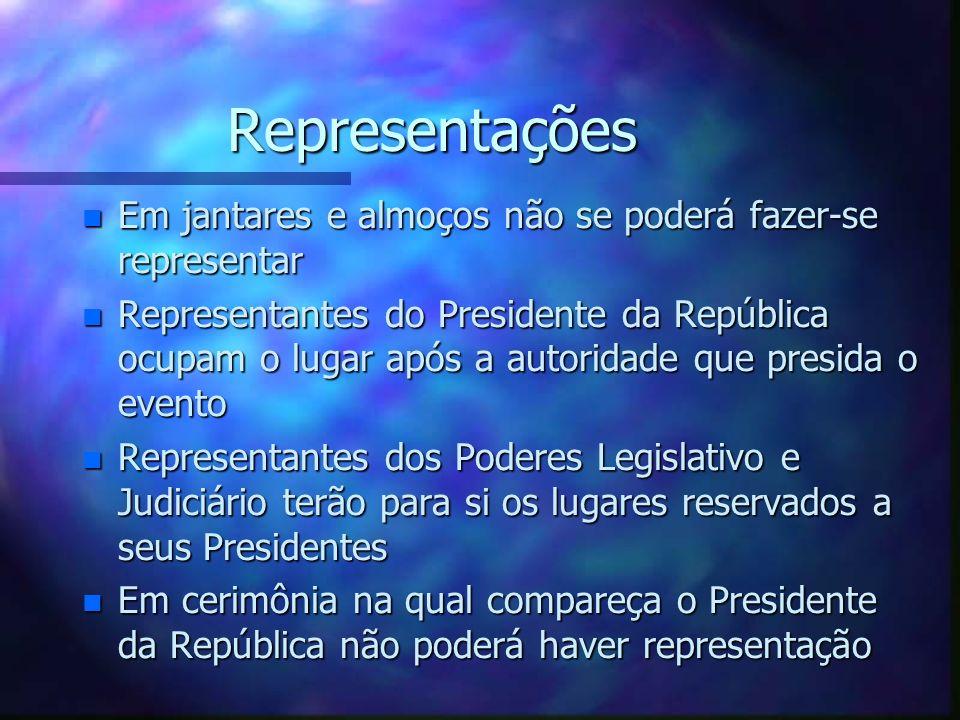 Representações n Em jantares e almoços não se poderá fazer-se representar n Representantes do Presidente da República ocupam o lugar após a autoridade