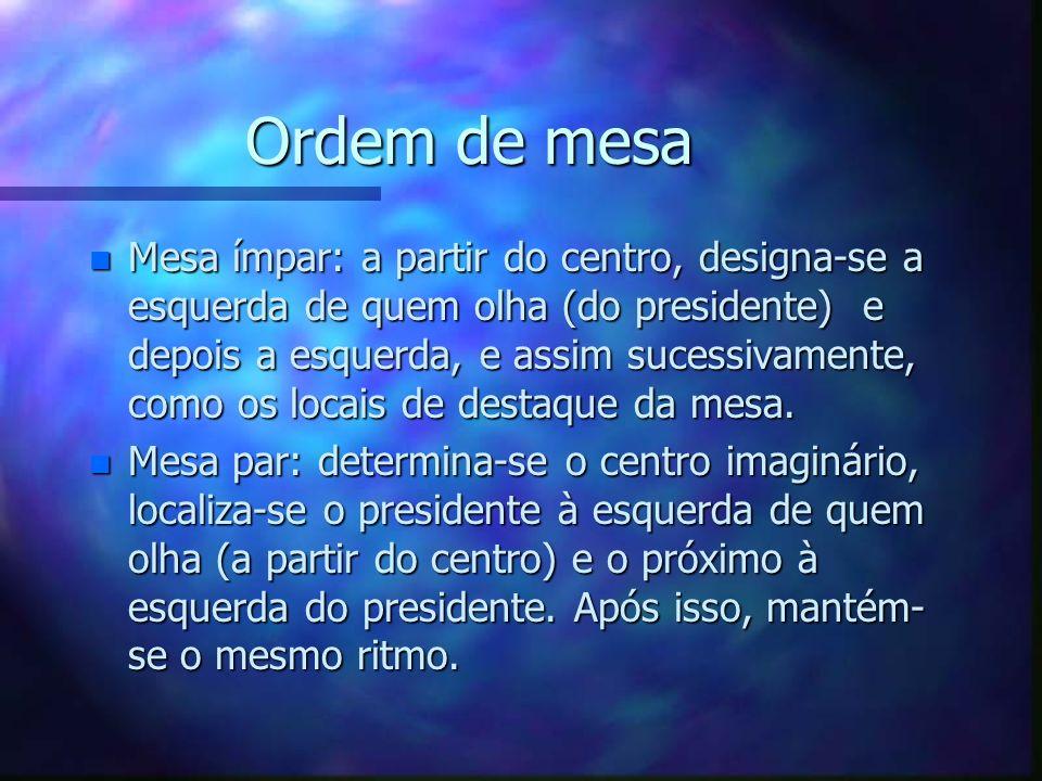 Ordem de mesa n Mesa ímpar: a partir do centro, designa-se a esquerda de quem olha (do presidente) e depois a esquerda, e assim sucessivamente, como o
